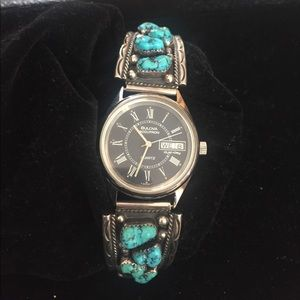 Jewelry - Navajo Sterling Silver & Turquoise Wrist Band
